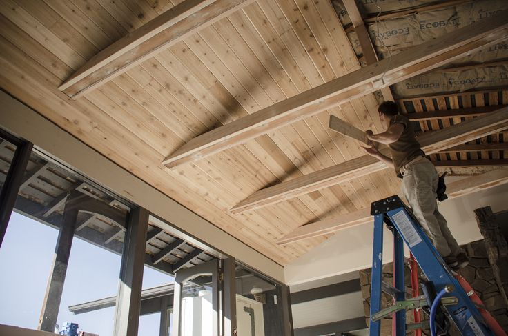 With the tongue and groove cedar, the ceiling really ...