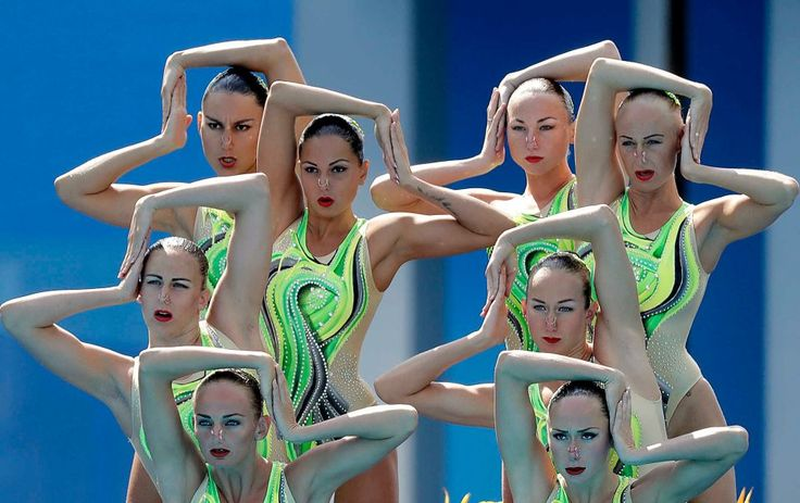 Ukraine's team competes during the synchronized swimming team technical routine final in the Maria Lenk Aquatic Center at the 2016 Summer Olympics in Rio de Janeiro, Brazil, Thursday, Aug. 18, 2016.