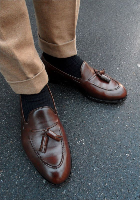 Khakis Brown Shoes Sock Color