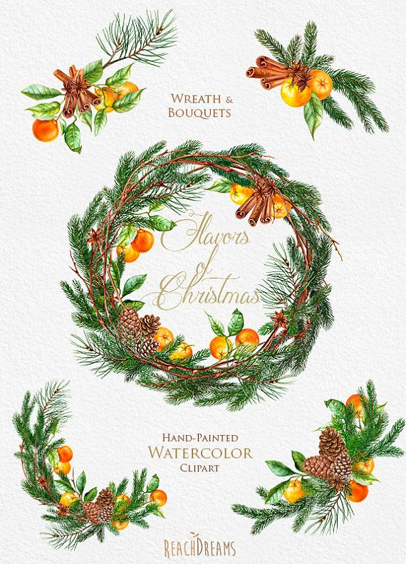 Christmas Wreath and Bouquets. Tangerines. Pine. by ReachDreams