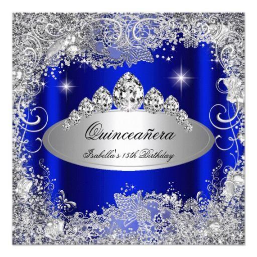 Quinceanera Party Royal Blue Silver Tiara Card Royal