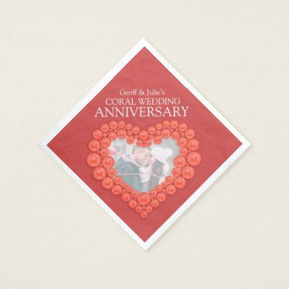 Coral 35th Wedding Anniversary Heart Photo Napkins In 2018 Wedding