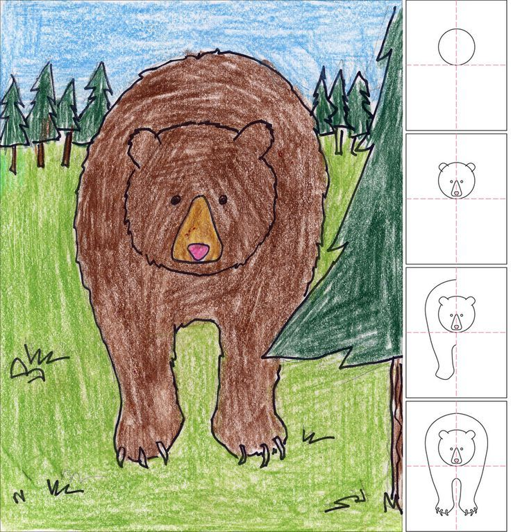 Week 27 - HISTORY (Lewis & Clark): Art Projects for Kids: How to Draw a Grizzly Bear