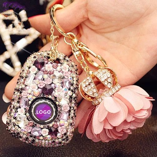 Bling Car Key Holder with Rhinestones for Cadillac ATS-L CT6 XTS XT5 CTS SRX - Purple