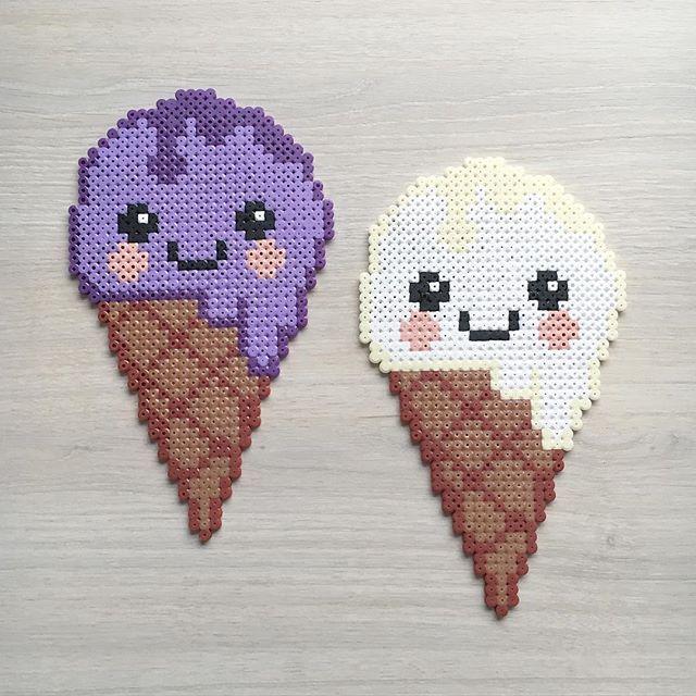 Kawaii ice cream cones hama beads by elisabeth_krogseter