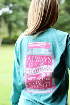 Jadelynn Brooke's Southern State of Mind Long Sleeve T-shirt is one that every southern belle needs in her closet.