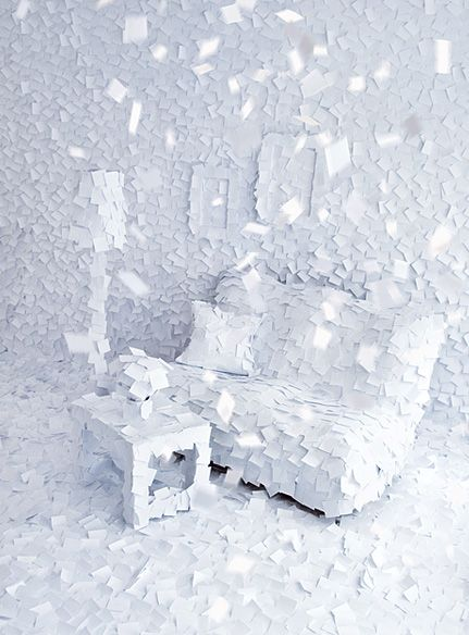 Winter Indoors With White Post-ItsPost, Paper Art, Living Room, Sticky Note, Art Installations, Post It Note, White Interiors, Adrian Merz, White Room