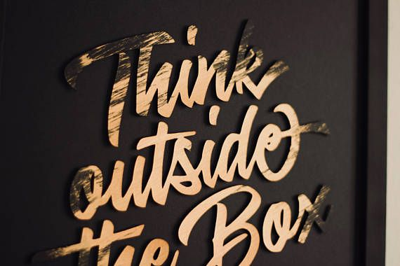 Think outside the Box. Modern minimalistic wall picture Think outside the Box, made of special, thick, extra black creative paper and bronze acrylic paint, with 3D effect (it's not printed). Wall paper art | Wall decor | Wall art | Wall print art | Paper cut | Home decor | Minimalistic wall art | think outside the box | bronze | black | box | bronze paint | acrylic