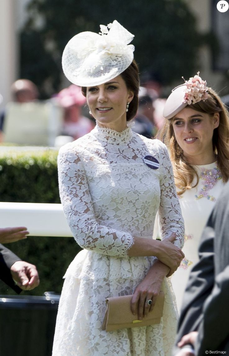 """Catherine (Kate) Middleton, duchesse de Cambridge, La princesse Beatrice d'York - La famille royale d'Angleterre lors de la première journée des courses hippiques """"Royal Ascot"""" le 20 juin 2017."""