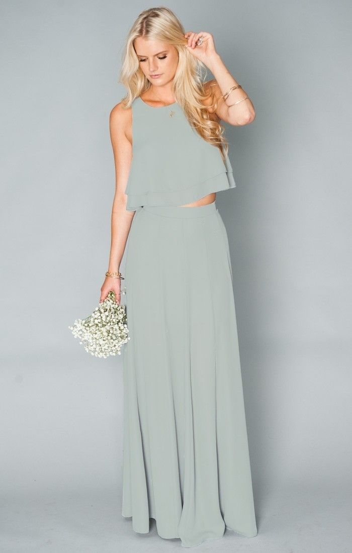 Two piece sage bridesmaid dresses from Show Me Your Mumu