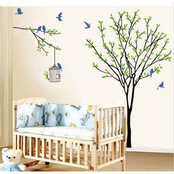 Pared Verde Etiqueta Decoración Arte Mural extraíble vinilo de la etiqueta del árbol de estar papel de sitio