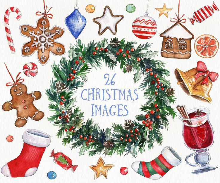 Winter Clipart Christmas Vintage Wreath New Year Holidays Watercolor Pattern Illustration Diy Decoration Watercolors Clip Art