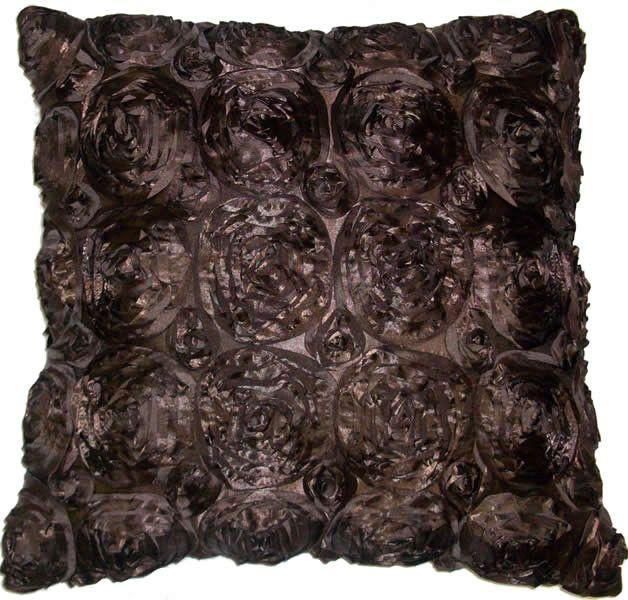 Silk Roses - Brown Throw Pillow