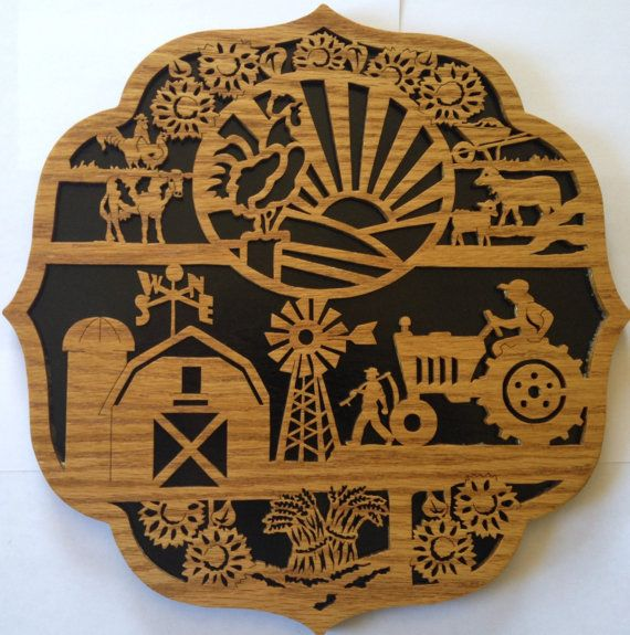 Farmer S Themed Country Scene Wall Hanging Scroll Saw Cut
