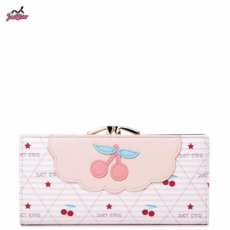Just Star Brand Design Fashion Fruit Collage PU Women Leather Girls Ladies Long Wallets Cards Holder Coin Purse Clutches
