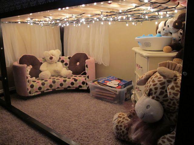 Sweet little underneath space in the IKEA Hack bed