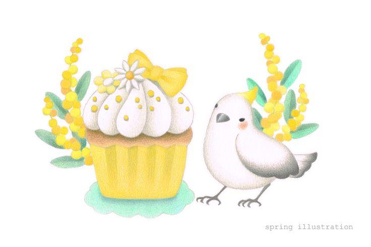 カップケーキ/ミモザ/小鳥