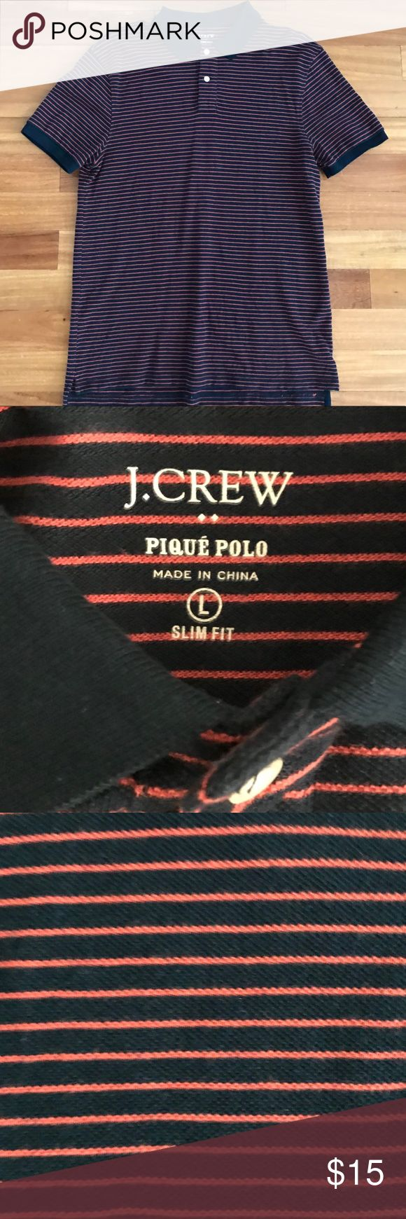 Men's J. Crew Pique Stripe Polo Shirt. Men's J. Crew Navy and Pink Stripe Pique Polo Shirt. Slim Fit Size Large. J. Crew Shirts Polos