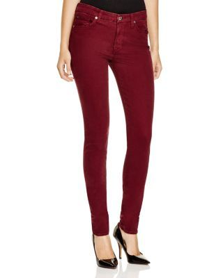 7 For All Mankind Mid Rise Skinny Brushed Sateen Jeans in Dark Ruby Red   Bloomingdale's
