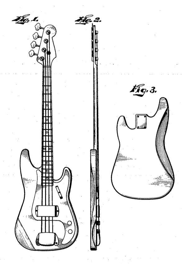 fender precision bass patent sketch