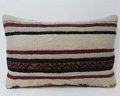 burlap cushion cover 16X24 outdoor pillow cover bohemian cushion cover crochet pillow cover contemporary pillow old kilim pillow sham 28544