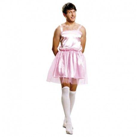 Disfraces despedida de soltero | Disfraz de bailarina rosa para hombre. Compuesto de vestido de tirantes con tul.  18,95€  #disfraz #despedida #soltero #disfraces #bailarina #hombre #tutu #rosa
