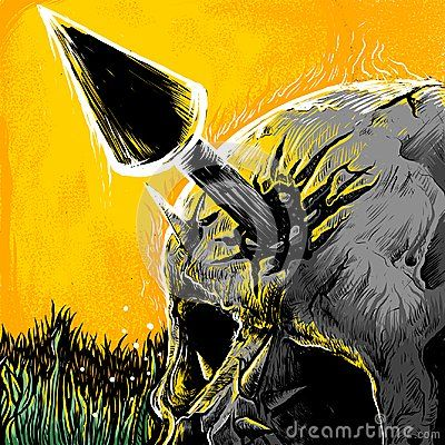 Illustration of skull has fallen with spear in head, image suitable for art print poster or t-shirt design