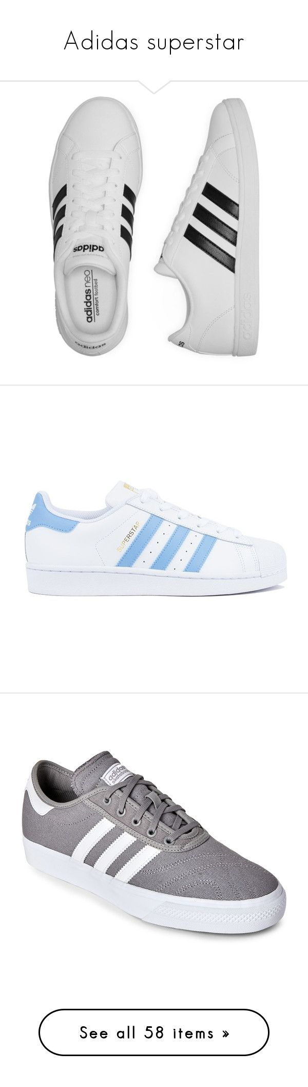 """Adidas superstar"" by iamgl2002 ❤ liked on Polyvore featuring shoes, sneakers, adidas shoes, adidas trainers, adidas footwear, adidas sneakers, adidas, blue, clothes - shoes and white trainers"