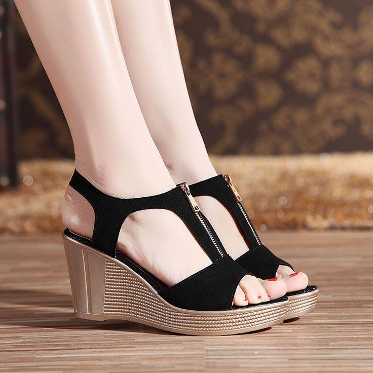Ladies Slope SlippersZYUPUP Summer Hollow Wedge High Heel Shoes Thick Bottom Flip Flops Sandals