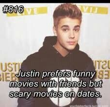 #Bieberfacts Because scary movies increase sexual attraction.... Its true.