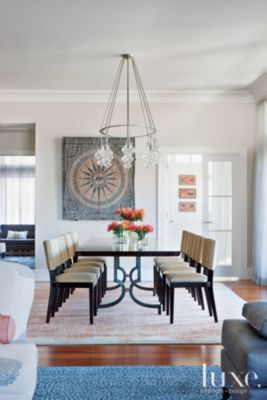 An oval #chandelier crowns a spacious Washington #penthouse's #diningroom. See more at www.luxesource.com. #luxe #luxemag #luxury #design #interiordesign #interiors #home #house #dwelling #residential #decor #homedecor #interiordecorating #interiordesignideas #architecture