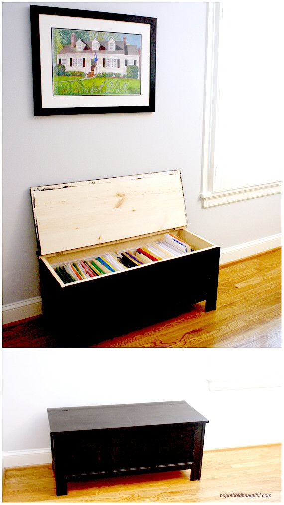 Instead of a Filing Cabinet, how about a Filing Trunk? | A Stylish Home Office | Bright Bold and Beautiful