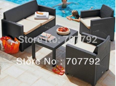 2016 Dark Brown Rattan Effect Garden Furniture sofa Set