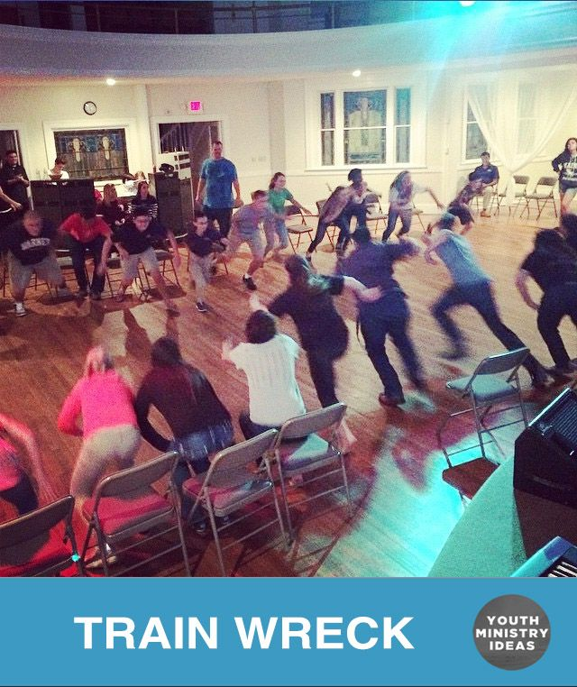"This game is called ""train wreck."" You have two lines of people in chairs, when you yell train wreck, they get up and run to the other side and try to get a seat. Each time take out a chair so there is one less chair than people. Kind of like musical chairs but with …"