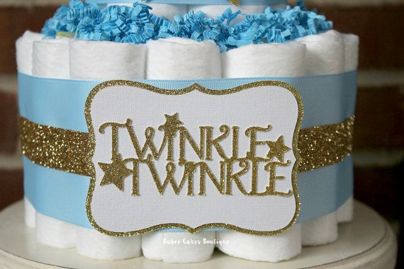 2 Tier Light Blue and Gold Twinkle Twinkle by BabeeCakesBoutique