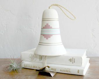 Southwestern Pottery Bell, Aztec Wind Chime, Southwest Windchime, Native American Bell, Garden Decor, Decorative Ceramic Chime Boho Decor,