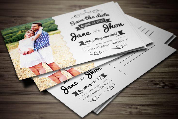 Elegant Wedding Invitation Postcard by Graphic Boutique on Creative Market