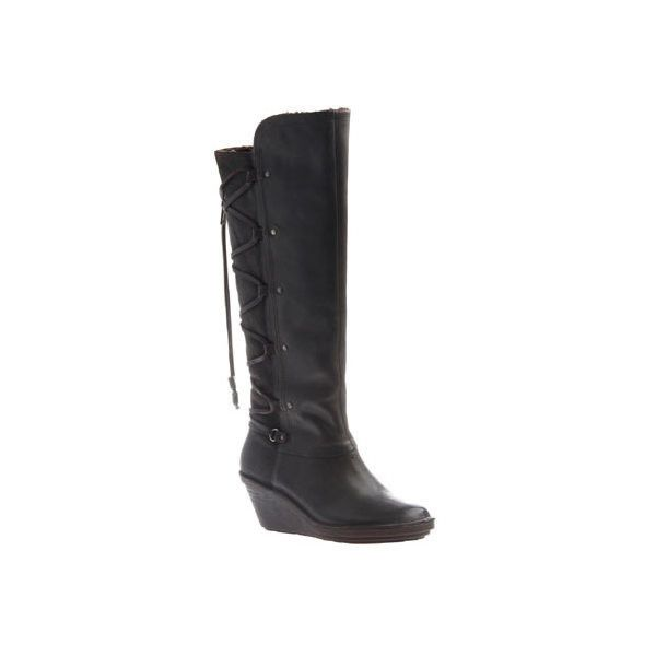 Women's OTBT Abroad Knee High Wedge Boot ($139) ❤ liked on Polyvore featuring shoes, boots, brown, casual, leather boots, brown leather boots, leather knee high boots, laced up heel boots, knee-high wedge boots and brown wedge boots