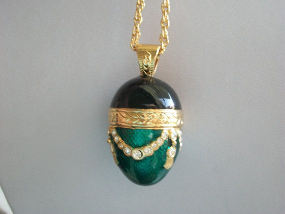 Edgar Berebi Enamel and Crystal Egg Pendant with by IsabelsVintage