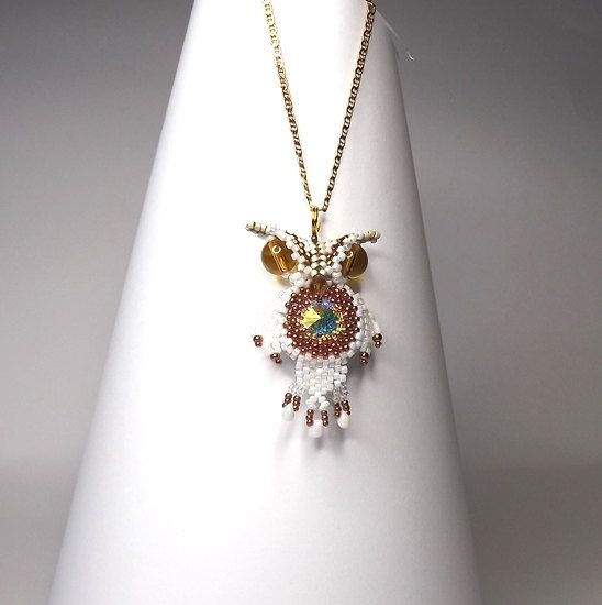 FREE SHIPPING Little Owl necklace OOAK snow owl white by Mamyblue, $45.00