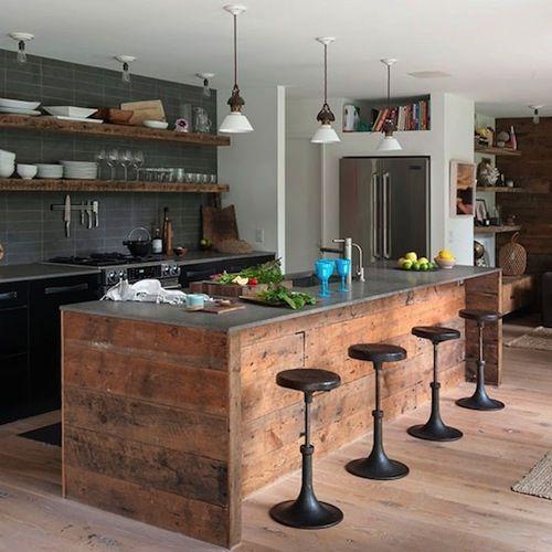 steigerhouten keuken met kookeiland - Google zoeken