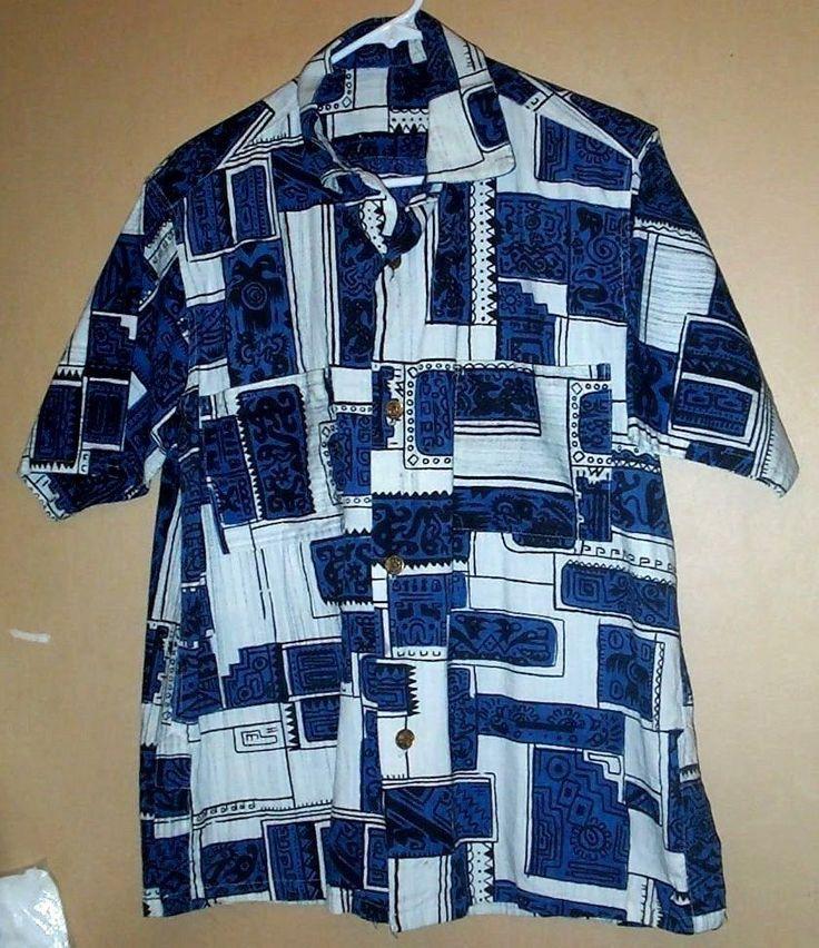 Vintage1950's barkcloth cotton neck loop tiki print aloha shirt - M !  #missinglabel #Hawaiian #SummerBeach