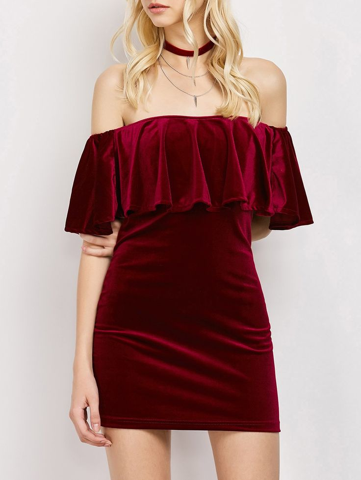 $27.49 Velvet Off The Shoulder Bodycon Dress WINE RED: Mini Dresses | ZAFUL