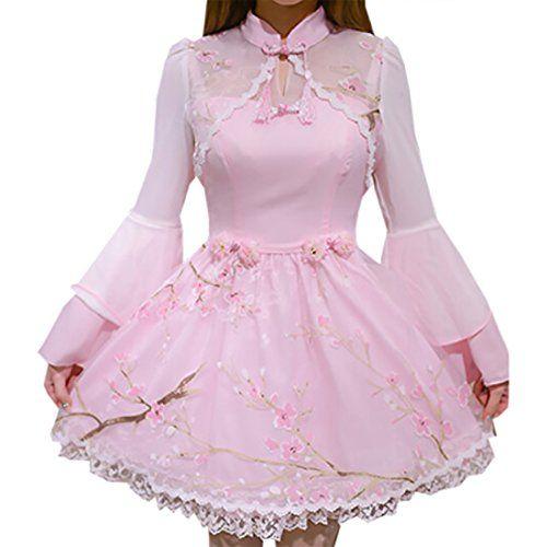 Partiss Women's Long Sleeve Lace Cheongsam Classic Sweet Lolita Dress, Chinese Small, Pink Partiss http://www.amazon.com/dp/B01DZSVZ52/ref=cm_sw_r_pi_dp_BvZcxb1NBXRYM