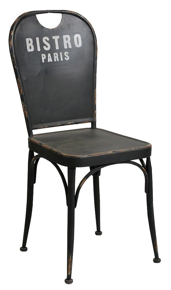 Industrialne rzesło Loft to czarne, wykonane z metalu krzesło  na którego powierzchni widoczne są liczne i nieregularne przetarcia farby. Oparcie krzesła ozdobione jest jasnoszarym napisem Bristro Paris. Dzięki modnemu kształtowi i stylowym przetarciom krzesło Loft Belldeco wygląda bardzo modnie i efektownie.