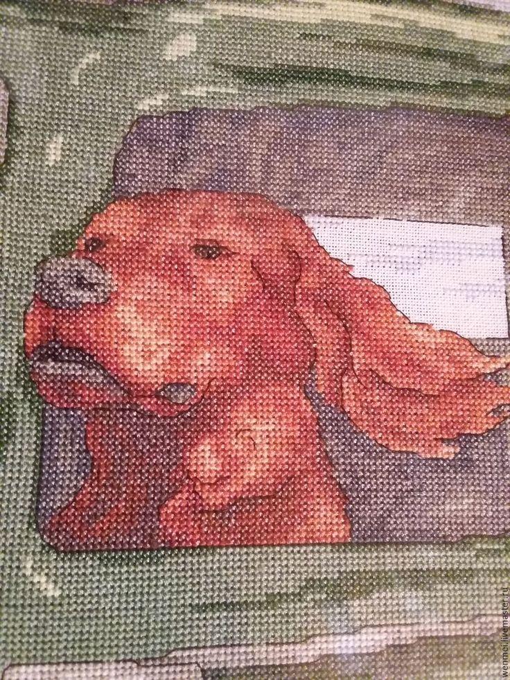 Купить Сеттер - зеленый, собака, Вышивка крестом, Сеттер, вышитая картина крестиком, хлопок 100%