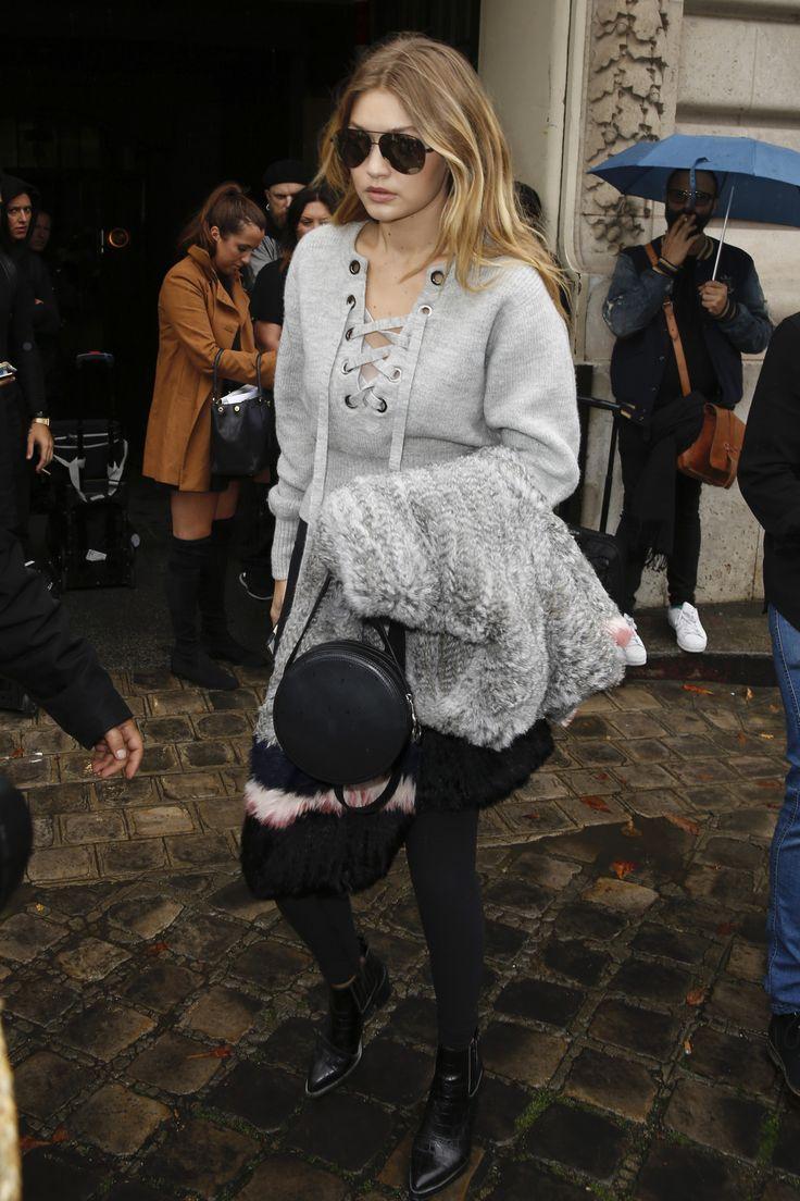 Gigi Hadid rocked the Isabel Marant lace-up top.