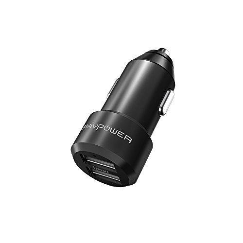 RAVPower mini car charger 2 ports USB: Ultrafin et petit: ce chargeur allume-cigare compact (5,9cm et 22,7g) à revêtement en alliage…