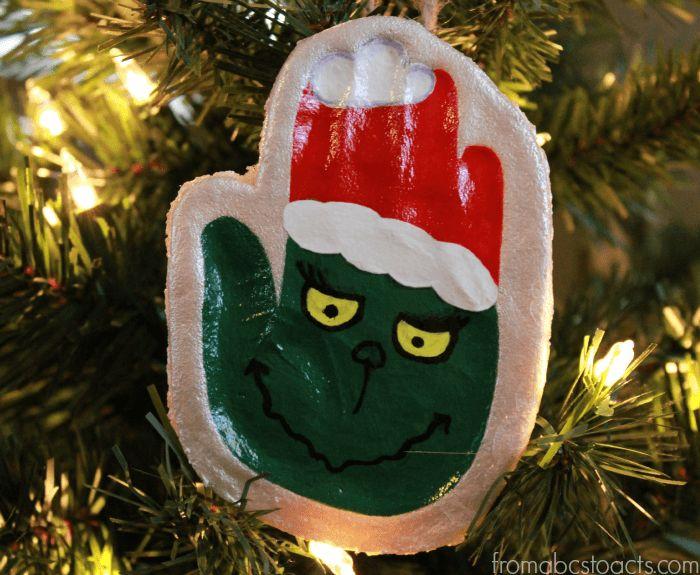 Salt Dough Ornaments for Christmas - Hand Print Grinch