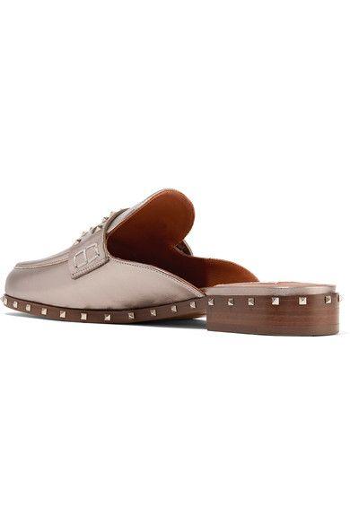Valentino - Soul Rockstud Metallic Leather Slippers - Silver